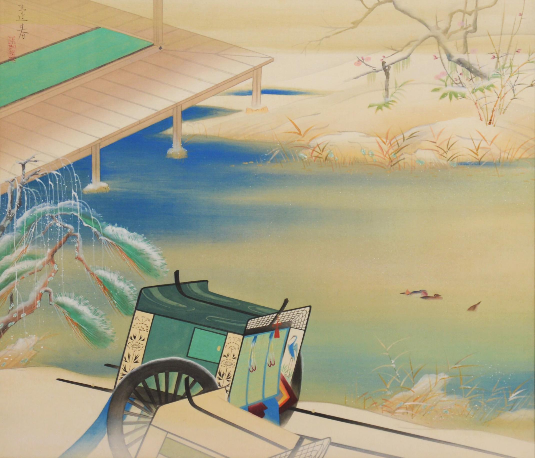 "Hoshun Yamaguchi ""Spring Snow"" , <br /> 49.9×56.7cm, Paint & Silk & Board"